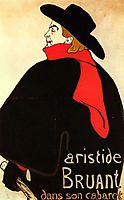 Aristide Bruant in his cabaret, 1892, toulouselautrec