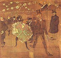 Boothof La GoulueattheFoire du Trone(Danceatthe MoulinRouge), 1895, toulouselautrec