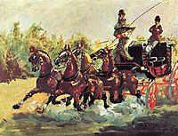 Count Alphonse de Toulouse Lautrec driving a four horse hitch, 1881, toulouselautrec