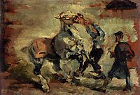 Horse Fighting His Groom, 1881, toulouselautrec