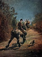 Horse and Rider with a Little Dog, 1879, toulouselautrec