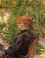 Red Haired Woman Seated in the Garden of M. Forest, 1889, toulouselautrec