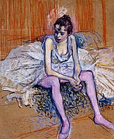 Seated Dancer in Pink Tights, 1890, toulouselautrec