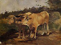 Two Bulls Wearing a Yoke, 1881, toulouselautrec