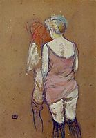 Two Half Naked Women Seen from Behind in the Rue des Moulins Brothel, 1894, toulouselautrec