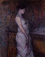 Woman in a Chemise Standing by a Bed (Madame Poupoule), 1899, toulouselautrec