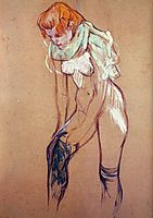 Woman Putting on Her Stocking, toulouselautrec