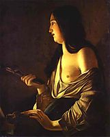 Repenting Magdalene, also called Magdalene in a Flickering Light, 1637, tour