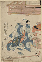 Actor Ichikawa Ebijuro, seated on floor with shamisen at his feet, 1818, toyokuni