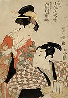 Kabuki Actors Sanogawa Ichimatsu II as Hayano Kampei and Osagawa Tsuneyo as Onoe, c.1798, toyokuni