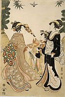 Three Beauties Playing Battledore and Shuttlecock, c.1800, toyokuni