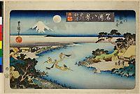 Autumn moon at Tamagawa, two boats fishing at night, c.1830, toyokuniii