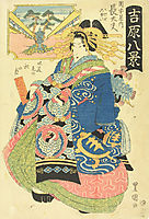 Courtesan Choto With Two Kamuro (Young Attendants) Behind Her, c.1830, toyokuniii