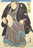 Sumo wrester in blue-brown striped underkimono, c.1820, toyokuniii