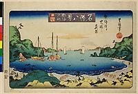 View of Oshima from Atami beach, c.1830, toyokuniii
