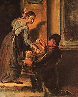 Buying apples from a peddler. Study, c.1830, tropinin