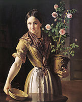 A girl with a pot of roses, 1850, tropinin