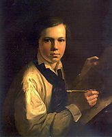 Portrait of the Artist-s Son the easel, 1820, tropinin