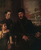 Portrait of D. P. Voyeikov with His Daughter and the Governess Miss Sorock, 1842, tropinin