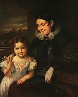 Portrait of V. I. Yershova with Her Daughter, 1831, tropinin