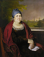 Portrait of a widow in a blue povoynik, 1830, tropinin