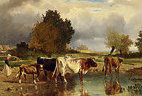 Calf cows at the marl , troyon