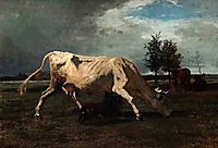 Cow chased by a dog, troyon