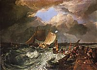 Calais Pier, with French Poissards Preparing for Sea, an English Packeet Arriving, 1803, turner