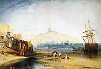 Scarborough Town and Castle, Morning, Boys Catching Crabs, 1811, turner