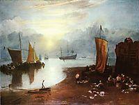 Sun Rising through Vagour; Fishermen Cleaning and Sellilng Fish, 1807, turner