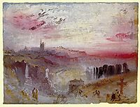 View over Town at Sunset, a Cemetery in the Foreground, 1832, turner