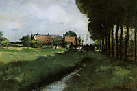 Landscape With Houses and Stream, 1881, twachtman