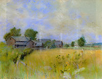 Pasture with Barns, Cos Cob, twachtman