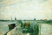 Scene along a Dutch River, c.1885, twachtman