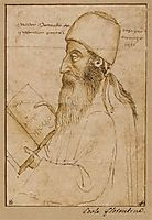 Portrait of Manuel Chrysoloras wearing a hat and holding a book, uccello