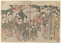 Courtesan`s Entourage at New Year`s Festival, 1788, utamaro