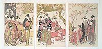 Courtesans Strolling Beneath Cherry Trees Before the Daiko, c.1789, utamaro