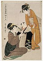 Dressing a Boy on the Occasion of His First Letting His Hair Grow, c.1795, utamaro