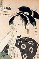 Woman playing a poppin, utamaro