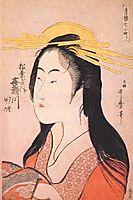 Kisegawa of Matsubaya, from the series -Seven Komachis of Yoshiwara-, c.1795 (woodblock print), c.1795, utamaro