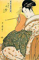 Komurasaki of the Tamaya with pipe in hand, 1794, utamaro