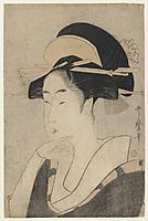 Large Head and Bust Portrait of Beauty, 1797, utamaro