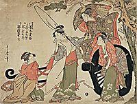 Mitate of the broken cart, showing an episode of the fight between Michizane and the Fujiwara, utamaro