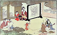 A monkey trainer performing at a noblemans house,, c.1788, utamaro
