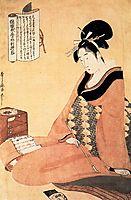 Reading a letter, utamaro