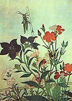 Rice Locust  Red Dragonfly  Pinks  Chinese Bell Flowers, 1788, utamaro
