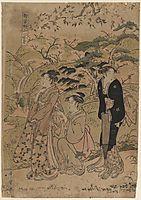 Three Courtesans Stroll Amidst Cherry Blossoms, 1803, utamaro