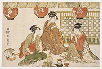 Three Seated Ladies with Lanterns, utamaro