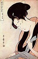 Woman in bedroom on rainy night, utamaro