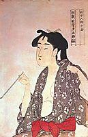 Woman smoking, utamaro